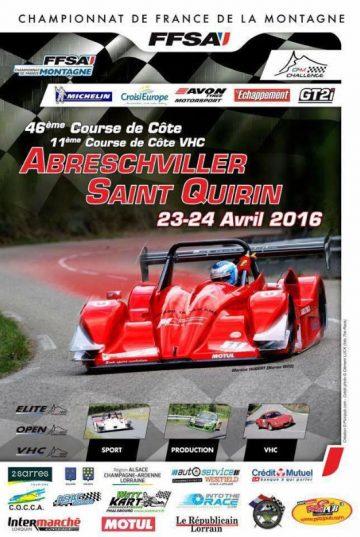 Affiche Course de Côte d'Abreschviller - Saint-Quirin 2016
