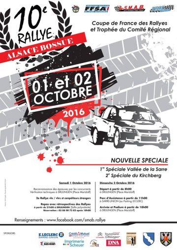 Affiche Rallye de l'Alsace Bossue 2016