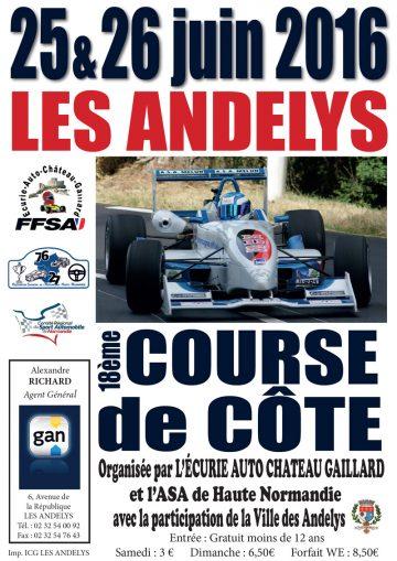 Affiche Course de Côte des Andelys 2016