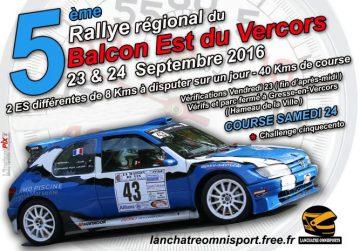 Affiche Rallye du Balcon Est du Vercors 2016