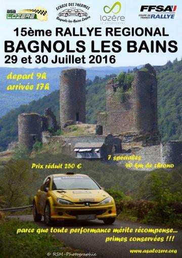 Affiche Rallye de Bagnols-les-Bains 2016