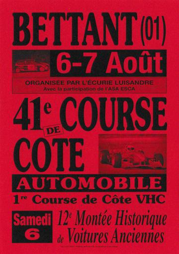 Affiche Course de Côte de Bettant 2016