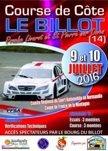 Affiche Course de Côte Le Billot 2016