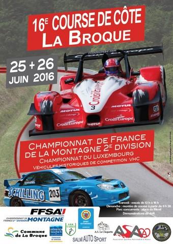 Affiche Course de Côte de La Broque 2016