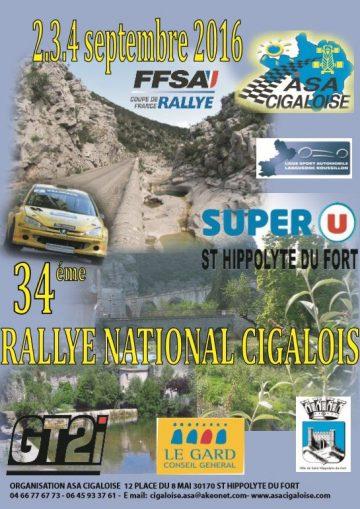 Affiche Rallye Cigalois 2016
