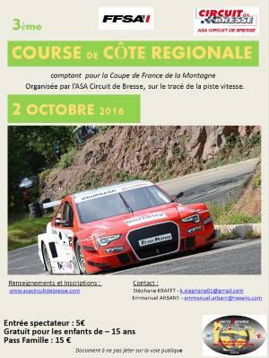 Affiche Course de Côte Circuit de Bresse 2016