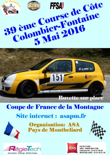 Affiche Course de Côte de Colombier-Fontaine 2016
