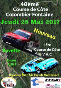 Affiche Course de Côte de Colombier-Fontaine 2017