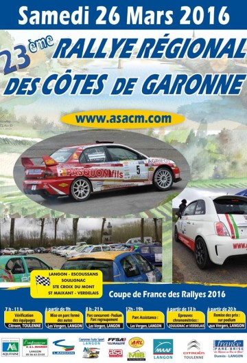 Affiche Rallye des Côtes de Garonne 2016