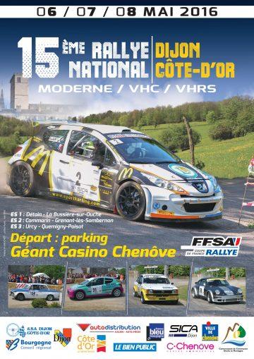 Affiche Rallye Dijon - Côte-d'Or 2016