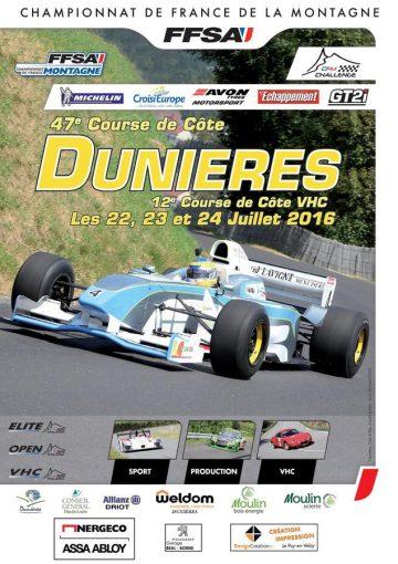 Affiche Course de Côte de Dunières Auvergne 2016