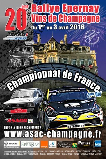 Affiche Rallye Épernay - Vins de Champagne 2016