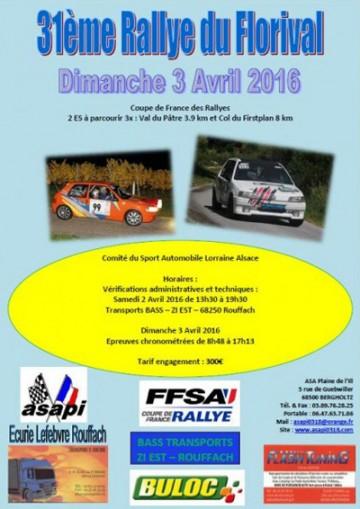 Affiche Rallye du Florival 2016