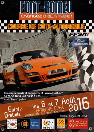 Affiche Course de Côte de Font-Romeu 2016