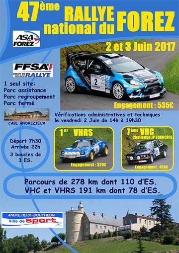 Affiche Rallye du Forez 2017