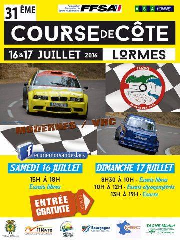Affiche Course de Côte de Lormes 2016