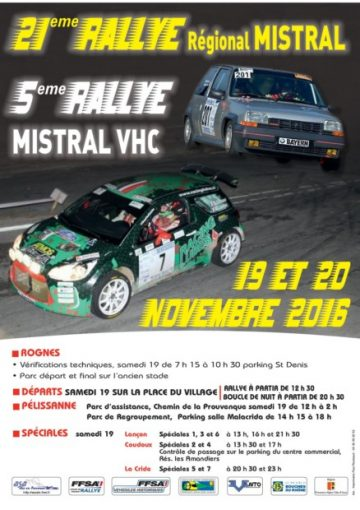 Affiche Rallye du Mistral 2016