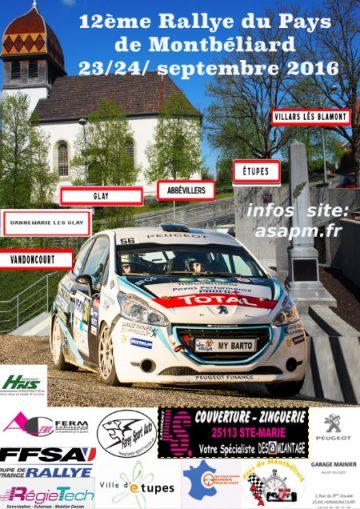 Affiche Rallye du Pays de Montbéliard 2016