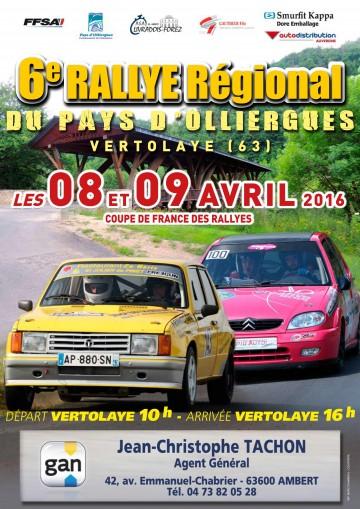 Affiche Rallye du Pays d'Olliergues 2016