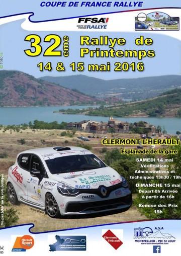 Affiche Rallye de Printemps - Clermont-l'Hérault 2016