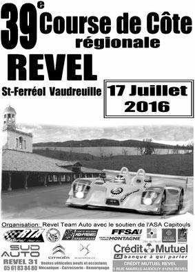 Affiche Course de Côte de Revel - Saint-Ferréol 2016