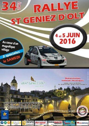Affiche Rallye de Saint-Geniez-d'Olt 2016