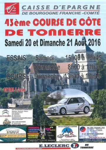 Affiche Course de Côte de Tonnerre 2016