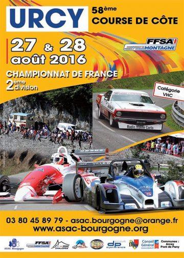 Affiche Course de Côte d'Urcy 2016