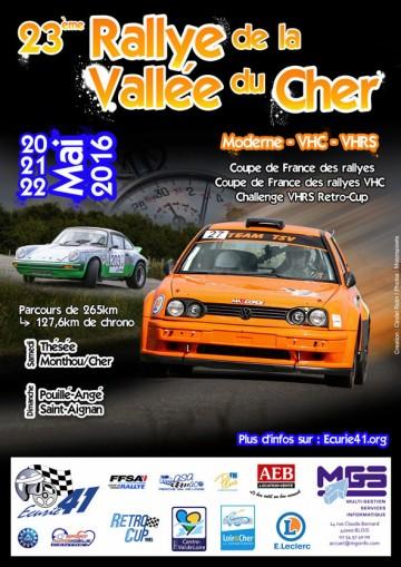 Affiche Rallye de la Vallée du Cher 2016