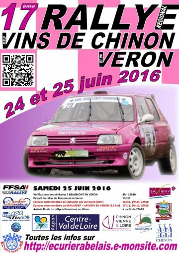 Affiche Rallye des Vins de Chinon et du Véron 2016